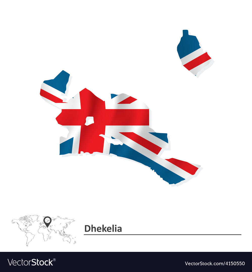 Map of Dhekelia with flag Royalty Free Vector Image