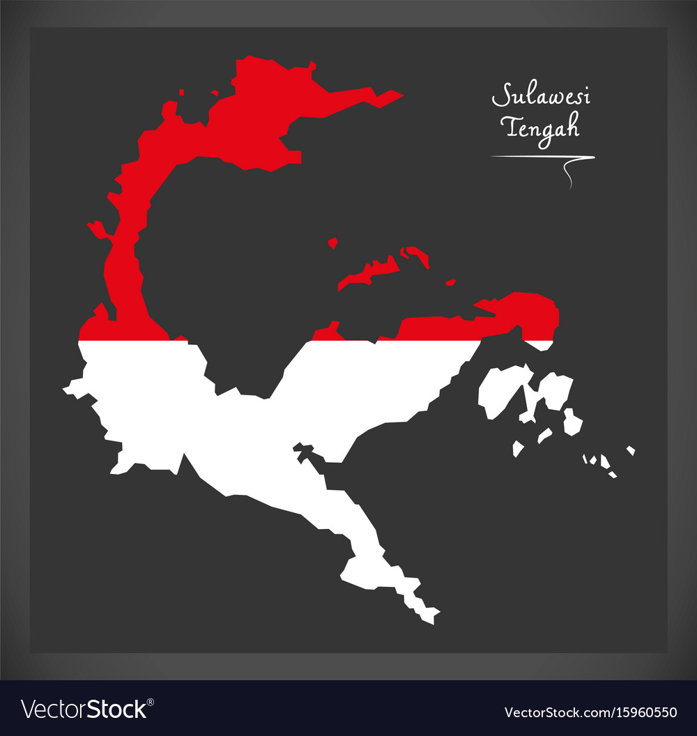 Sulawesi tengah indonesia map with indonesian vector image