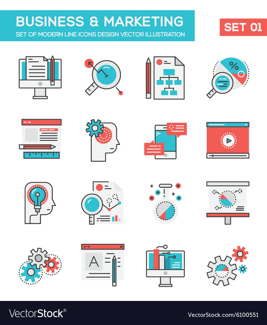 Modern Flat Line icon Concept of Business vector image