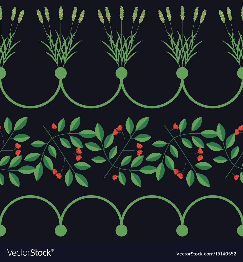 Seamless floral border vector image