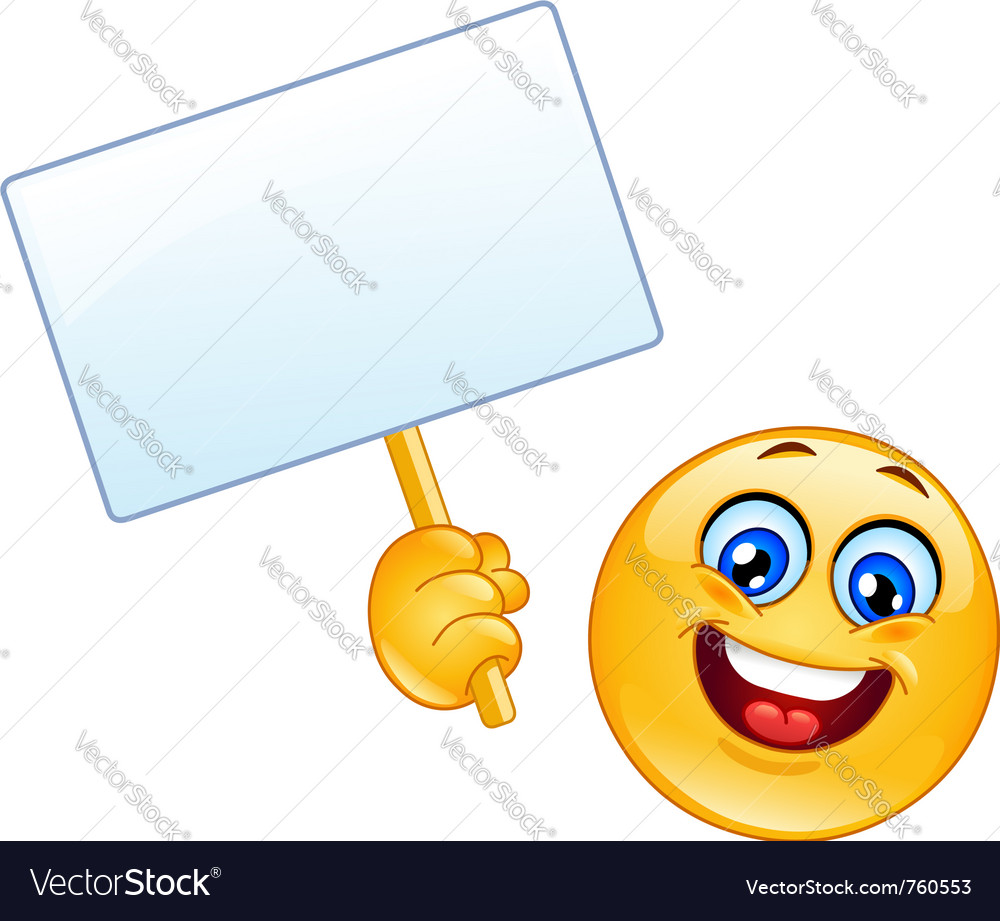 Emoticon with sign vector image