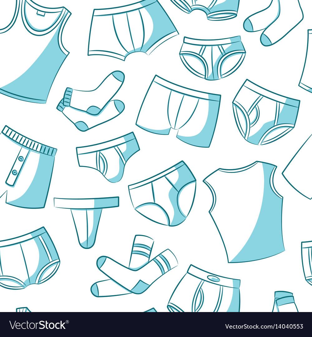 Male underwear doodle pattern vector image