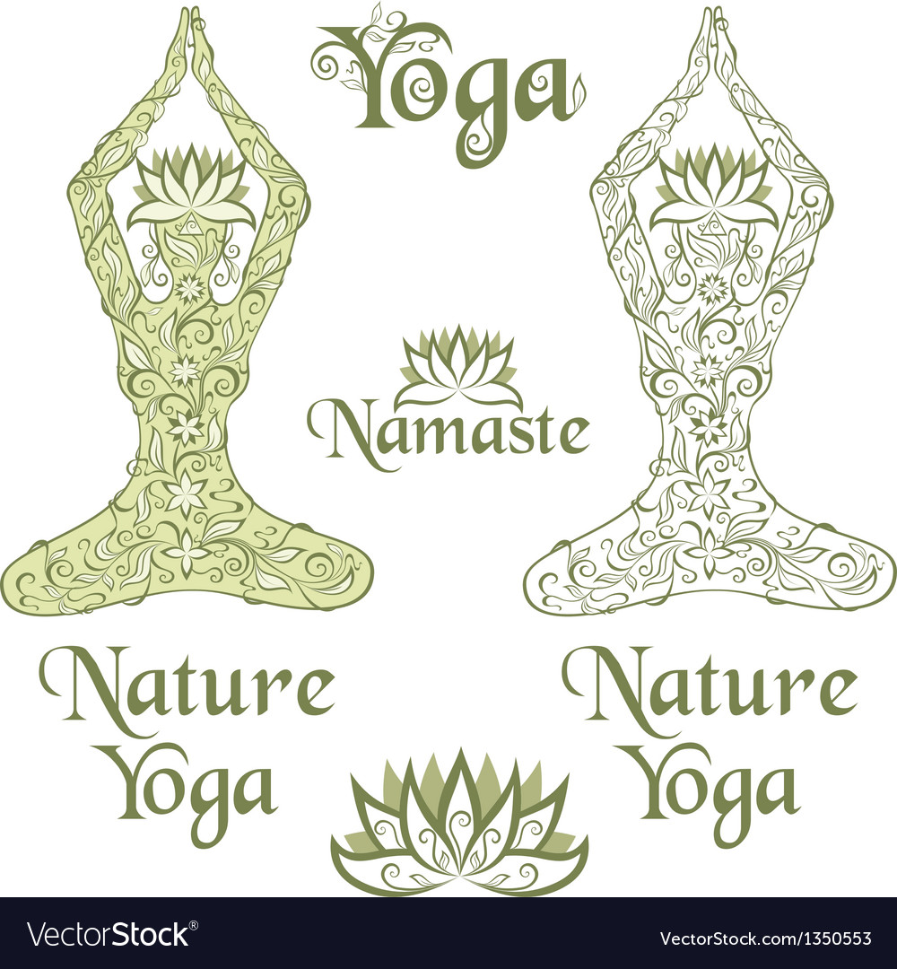 Nature Yoga elements vector image
