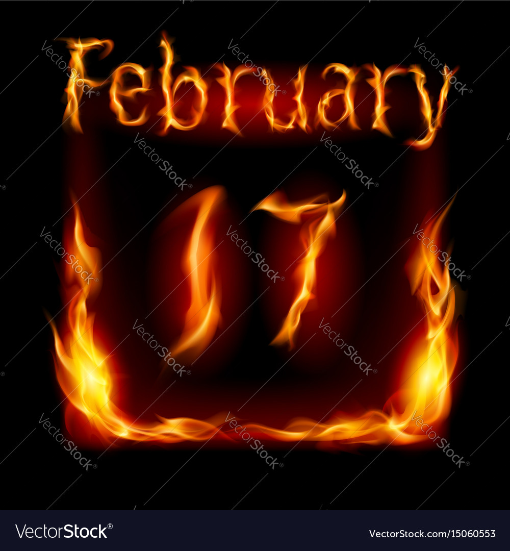 Seventeenth february in calendar of fire icon on vector image