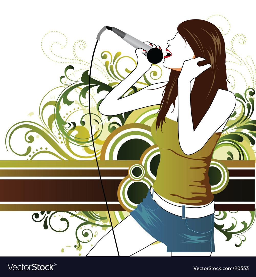 Sing star pop girl vector image