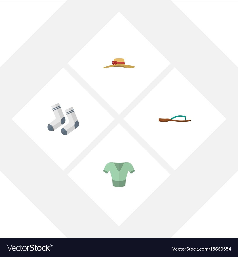 Flat icon dress set of beach sandal elegant vector image