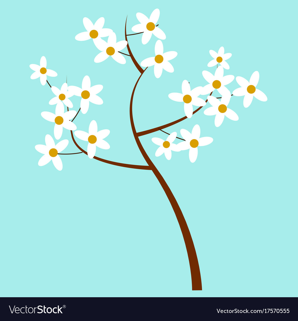 Cartoon spring blooming tree isolated vector image