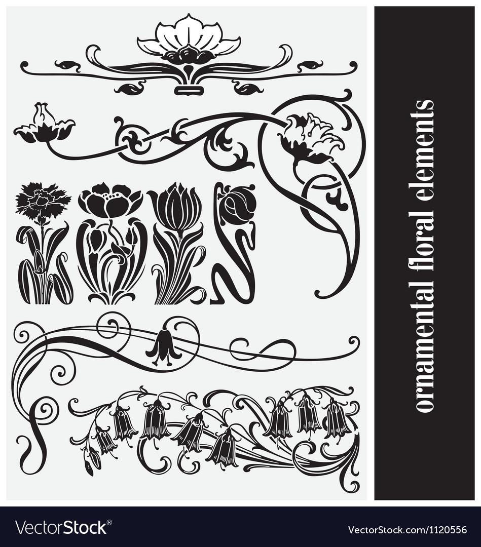 Ornamental floral elements vector image