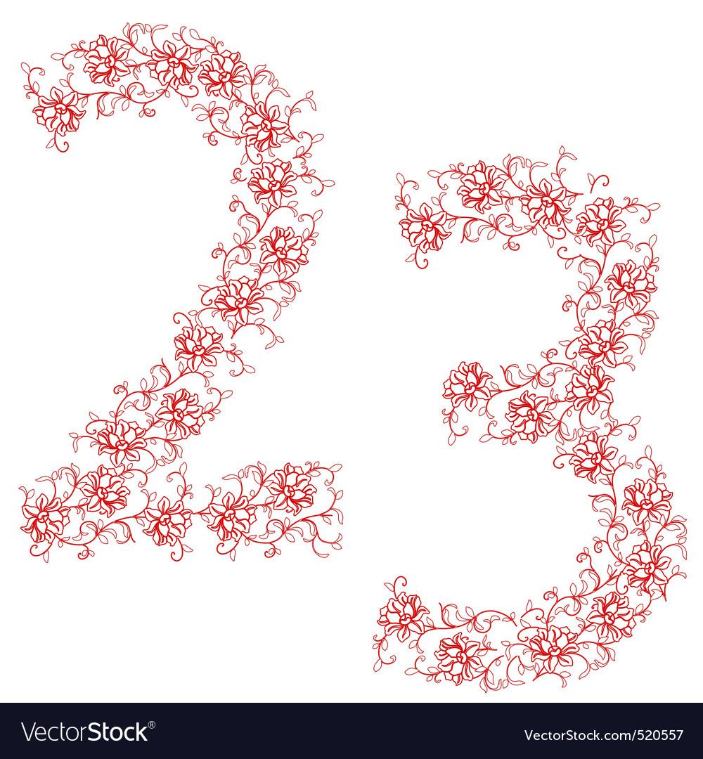 Hand drawing ornamental alphabet letter 23 vector image