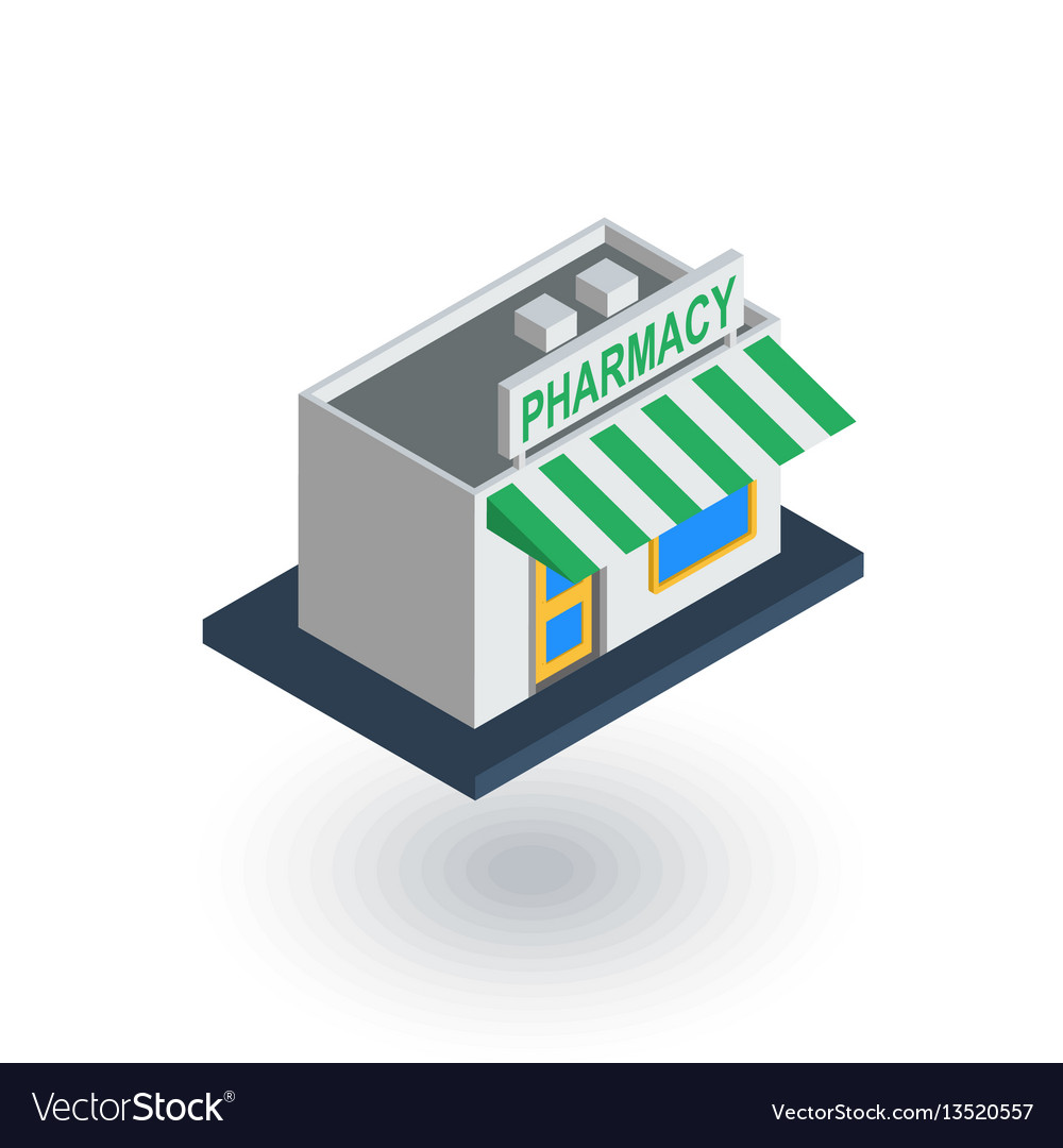 Pharmacy building isometric flat icon 3d vector image