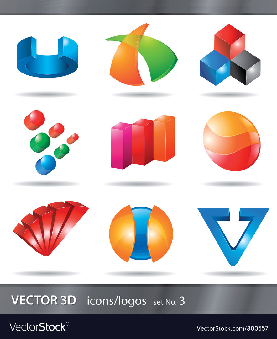 Set of 3d icons or logos vector image