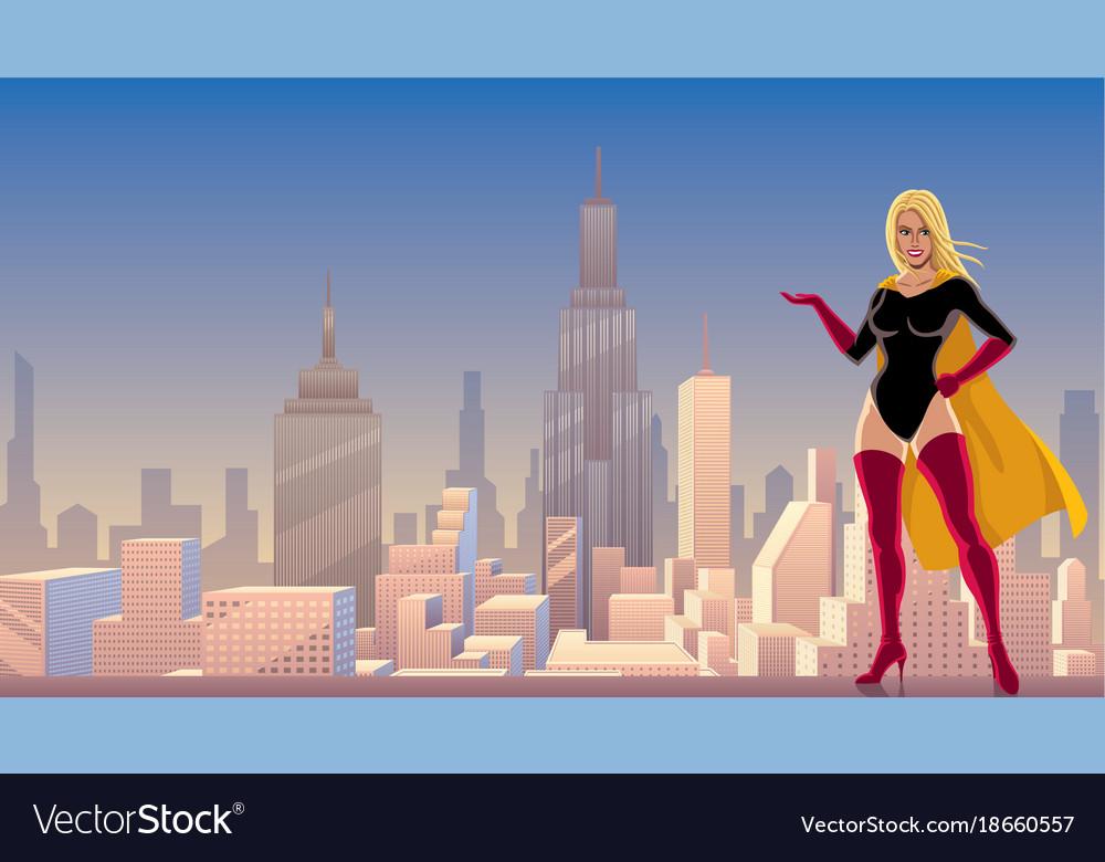Superheroine presenting in city vector image