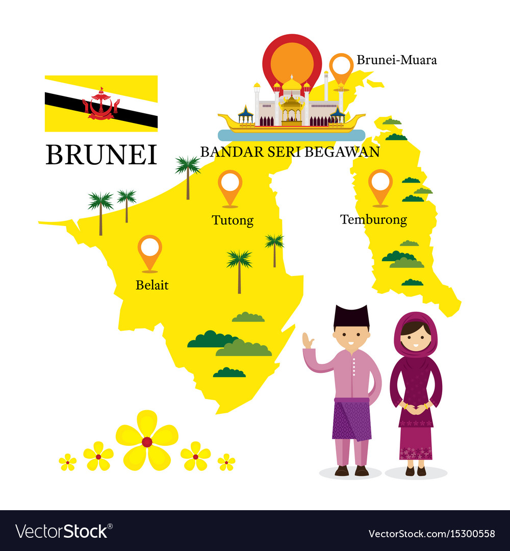 Brunei Map And Landmarks With People In Royalty Free Vector - Brunei map