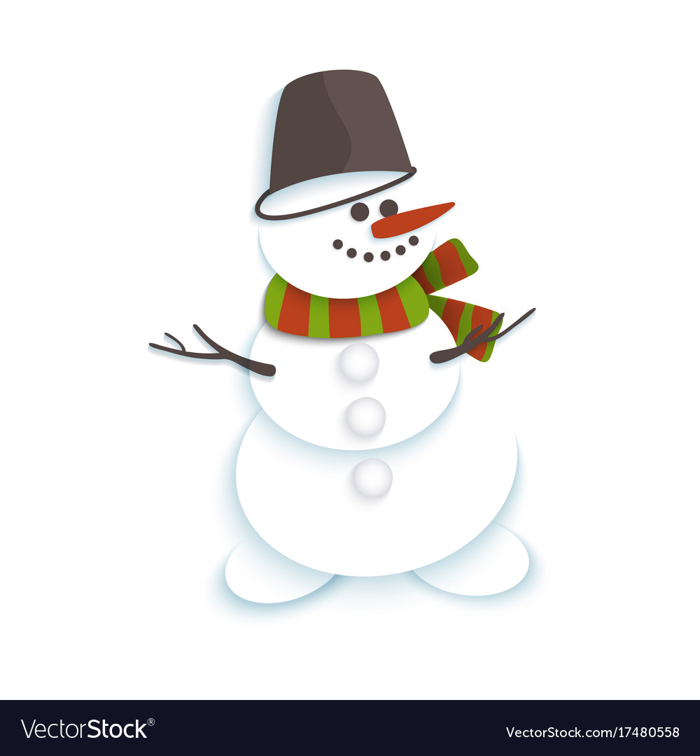 Snowman in bucket and striped scarf smiling vector image