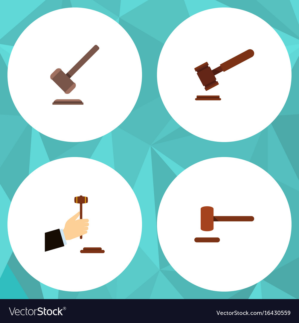 Flat icon hammer set of law defense justice and vector image