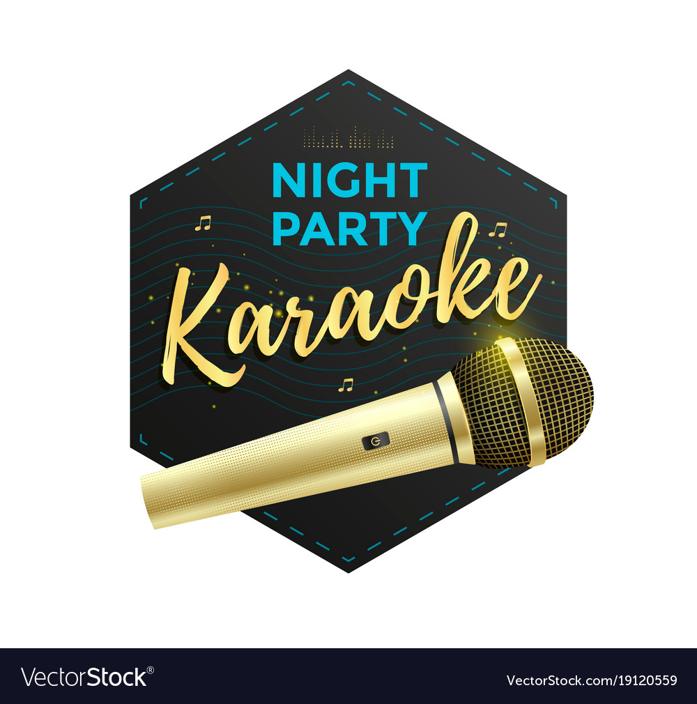 Karaoke party label vector image