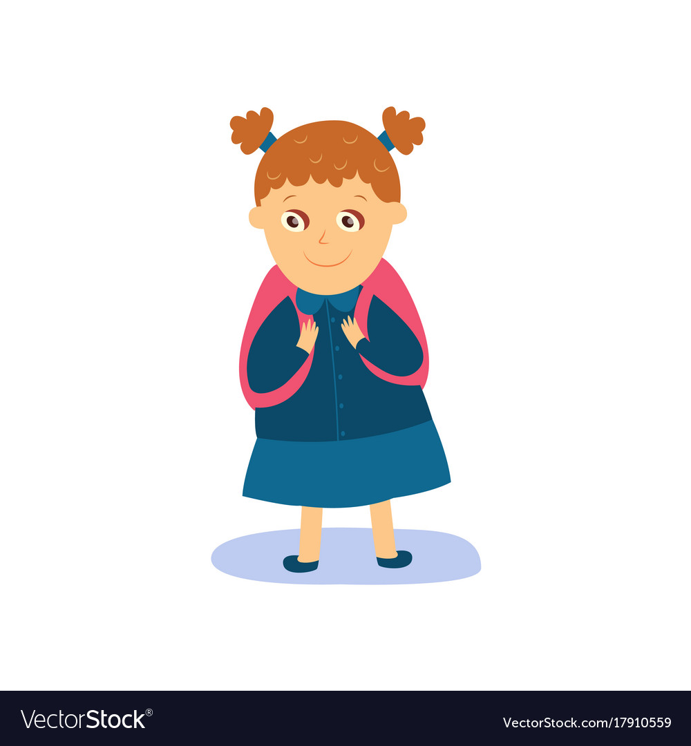 Little girl with backpack dressed for school vector image