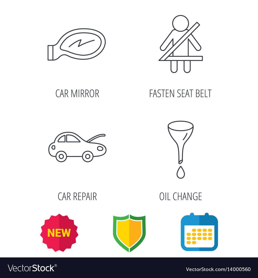 Car mirror repair oil change and seat belt vector image