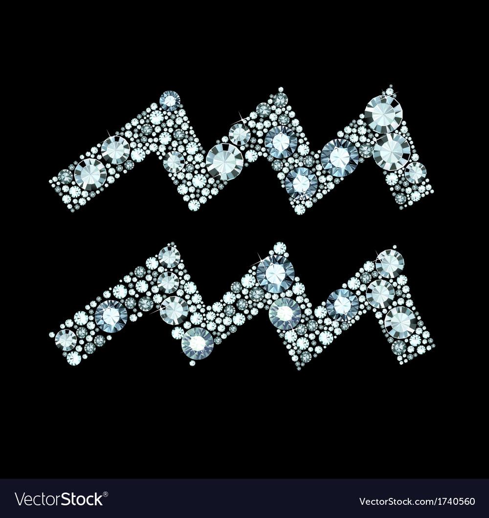 Diamond Aquarius Symbol vector image