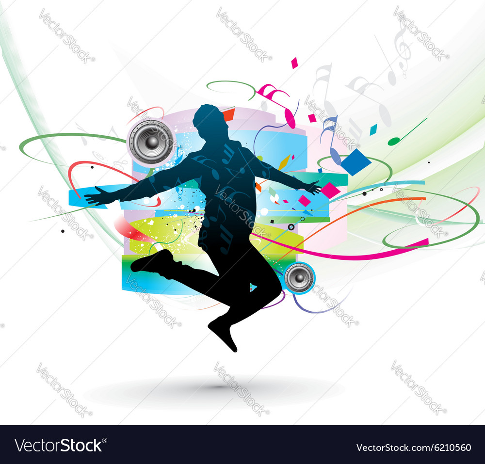 Silhouette of man dancer posing vector image
