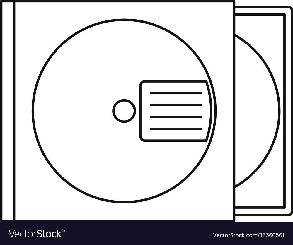 Cd box icon outline style vector image