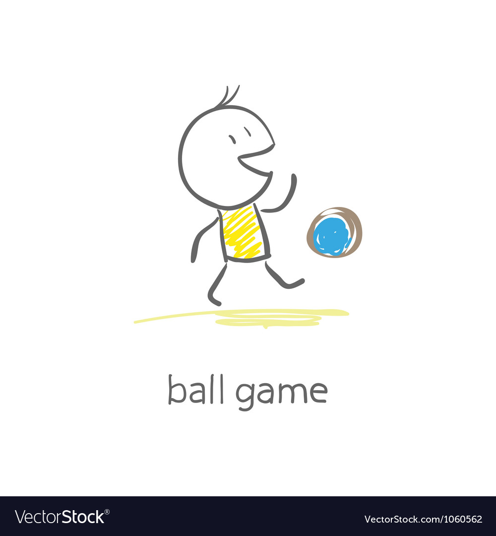 Man plays with the ball Vector Image