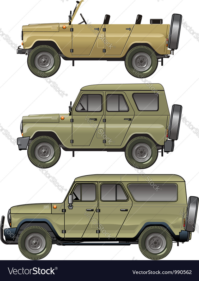 Offroad jeeps set vector image
