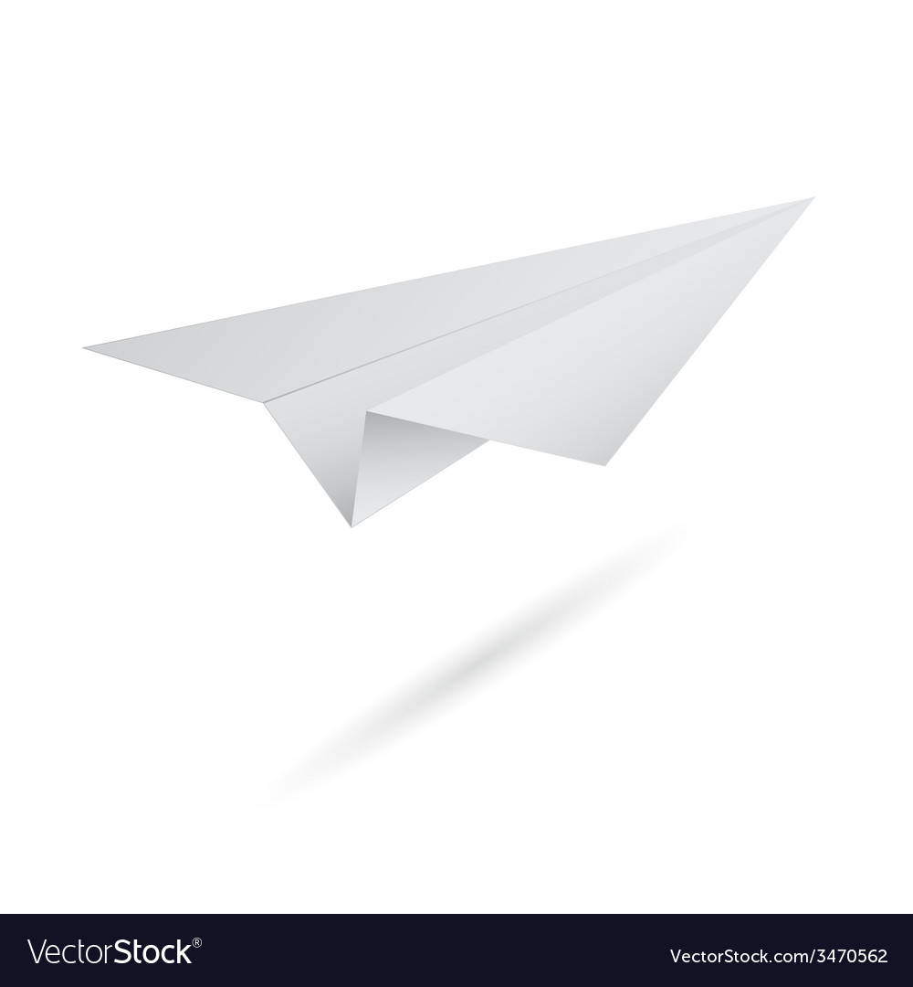 Origami flying paper airplane on white background vector image