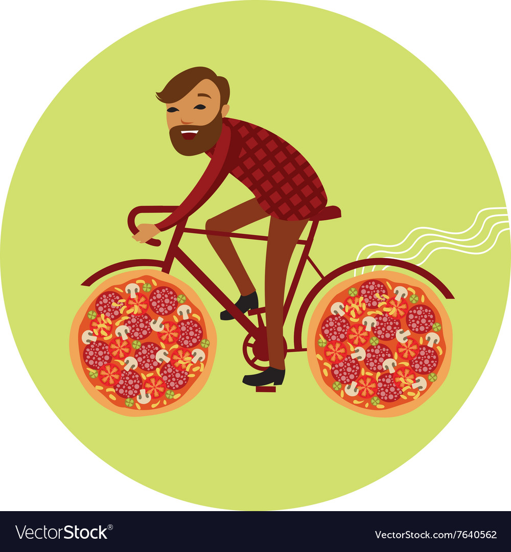 Pizza delivery by bike vector image