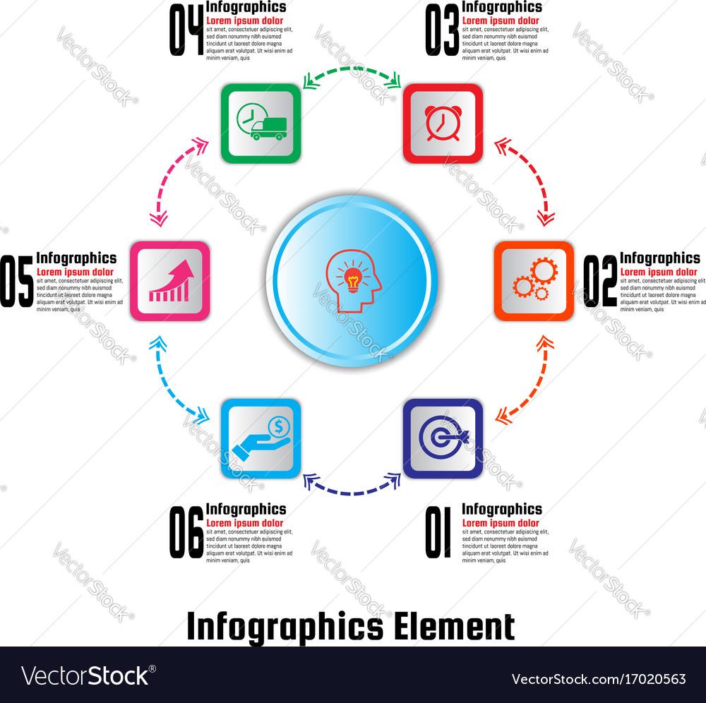 Infographics element six options vector image
