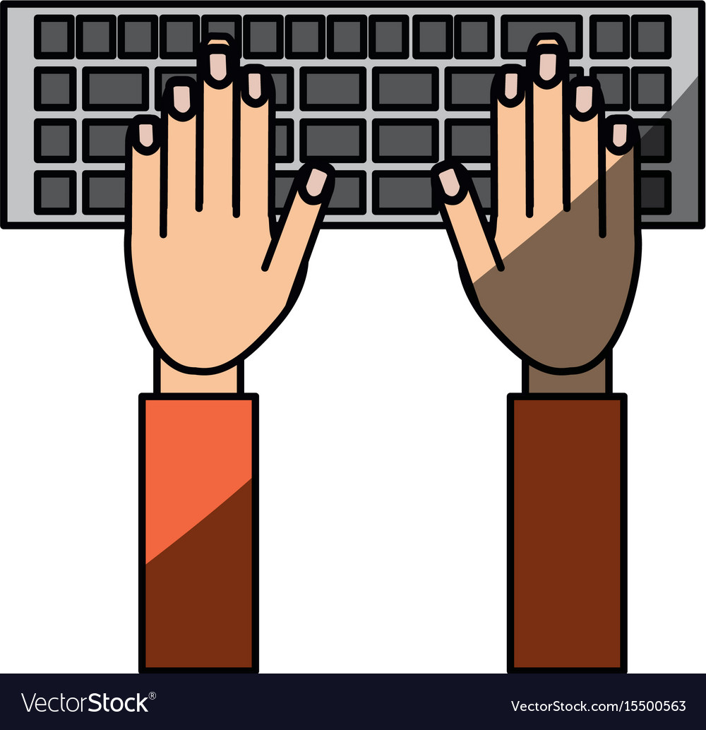 Isolated hands writing in keyboard vector image