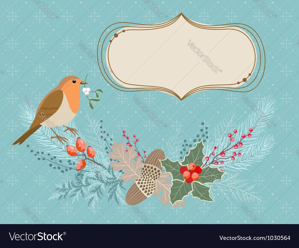 Christmas card with Robin bird vector image