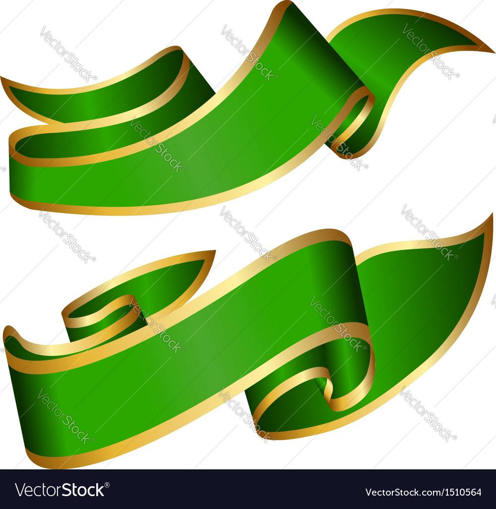 Green ribbon collection vector image