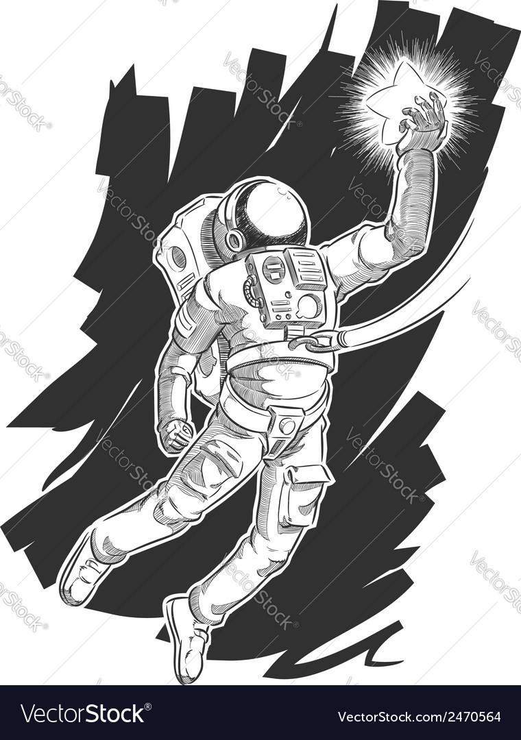 Sketch of Astronaut or Spaceman Grabbing a Star vector image