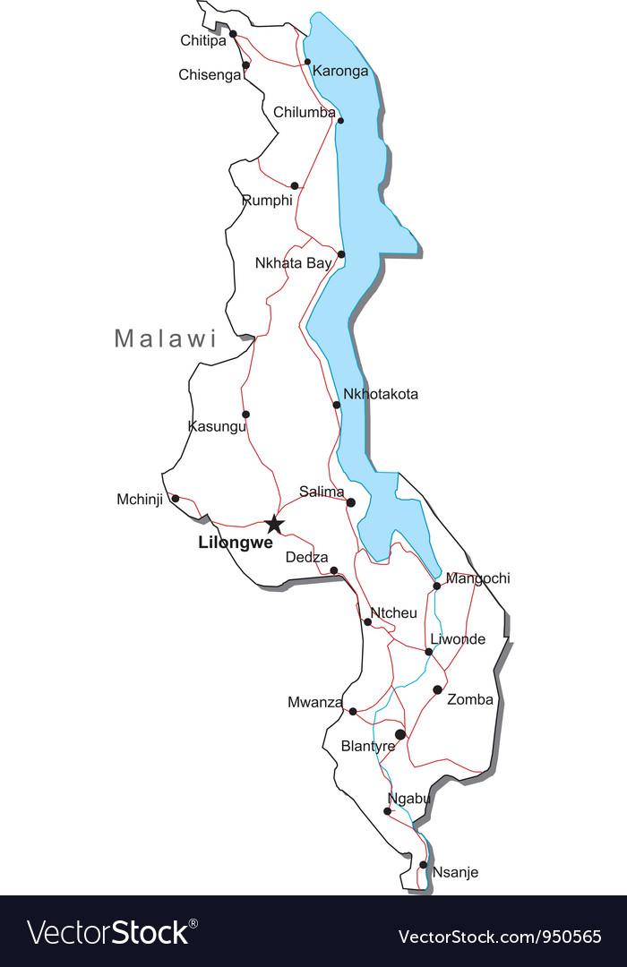 Malawi Black White Map vector image
