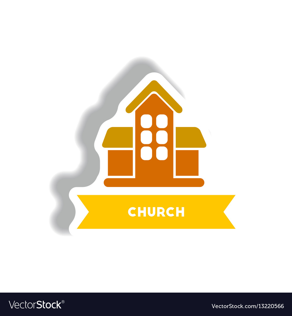 Stylish icon in paper sticker style building