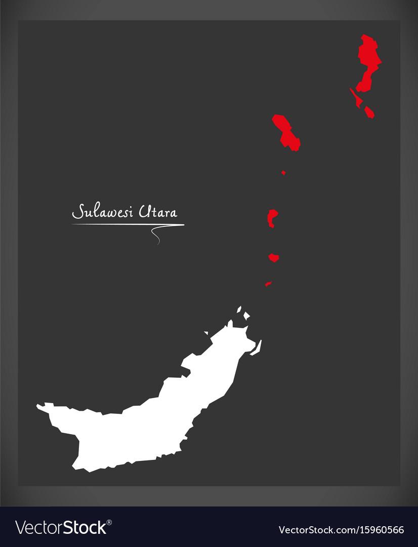 Sulawesi utara indonesia map with indonesian vector image