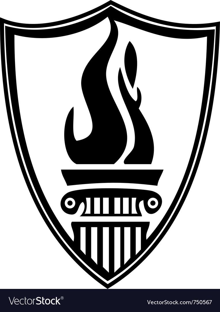 Shield column torch Vector Image