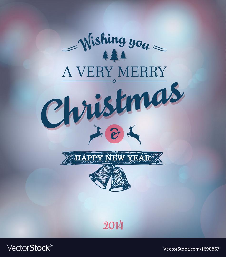 Blue Christmas bokeh background vector image