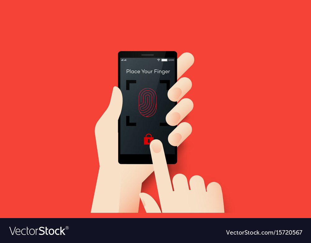 Hand holding smartphone with conceptual locked vector image