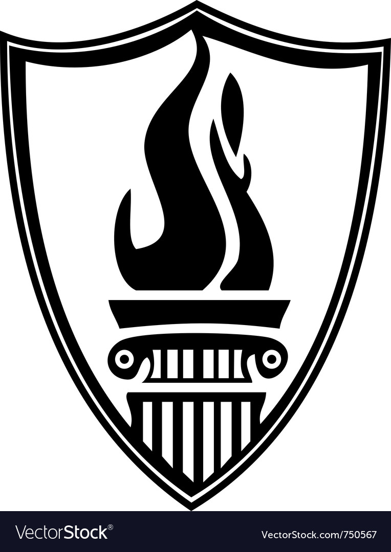 Shield column torch vector image