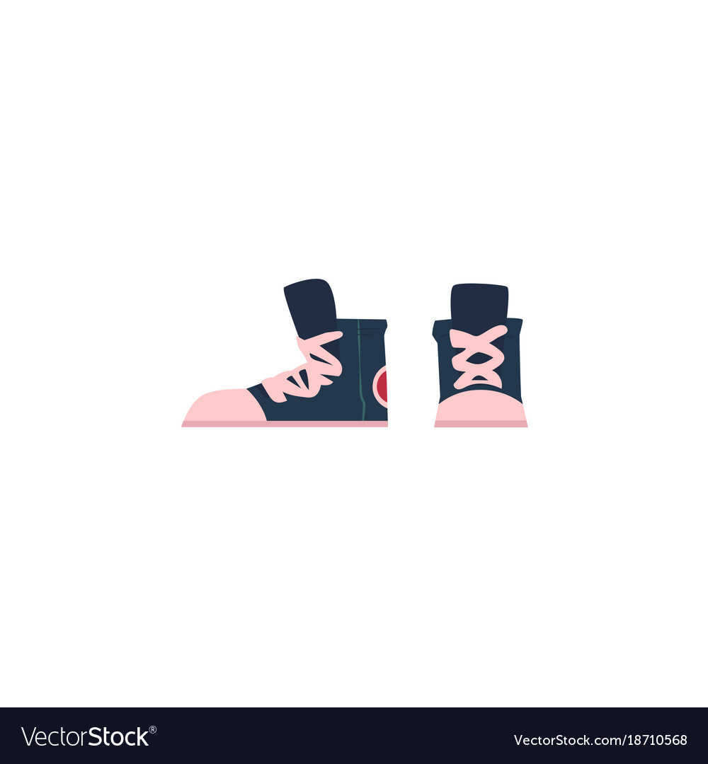 Flat cartoon vintage retro sneakers vector image