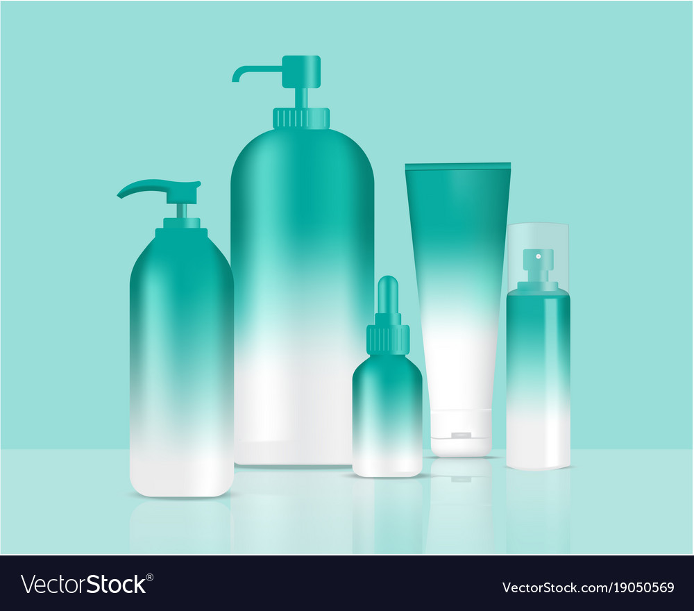 Green bottles set background xd vector image