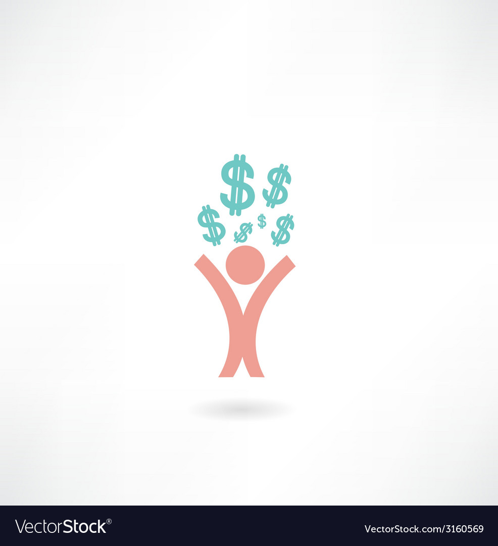 Man with dollar sign icon vector image