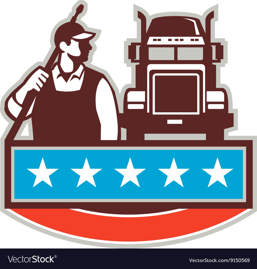 Pressure Washer Worker Truck USA Flag Retro vector image