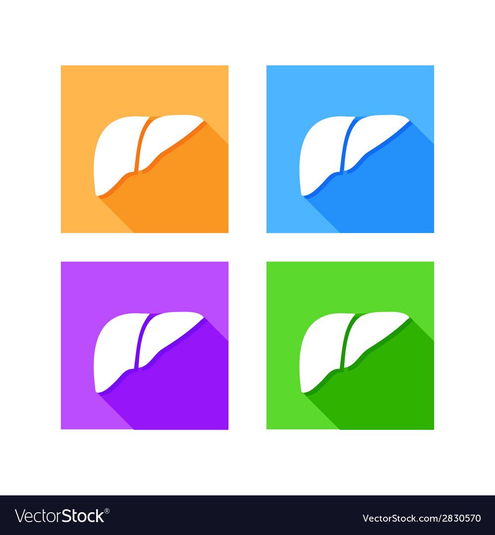 Human liver icon logo flat long shadow vector image