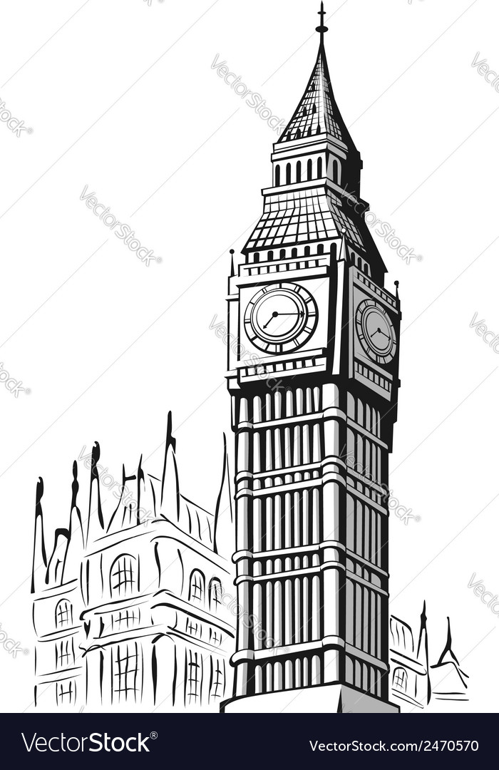 Line Drawing London : Sketch of big ben london royalty free vector image