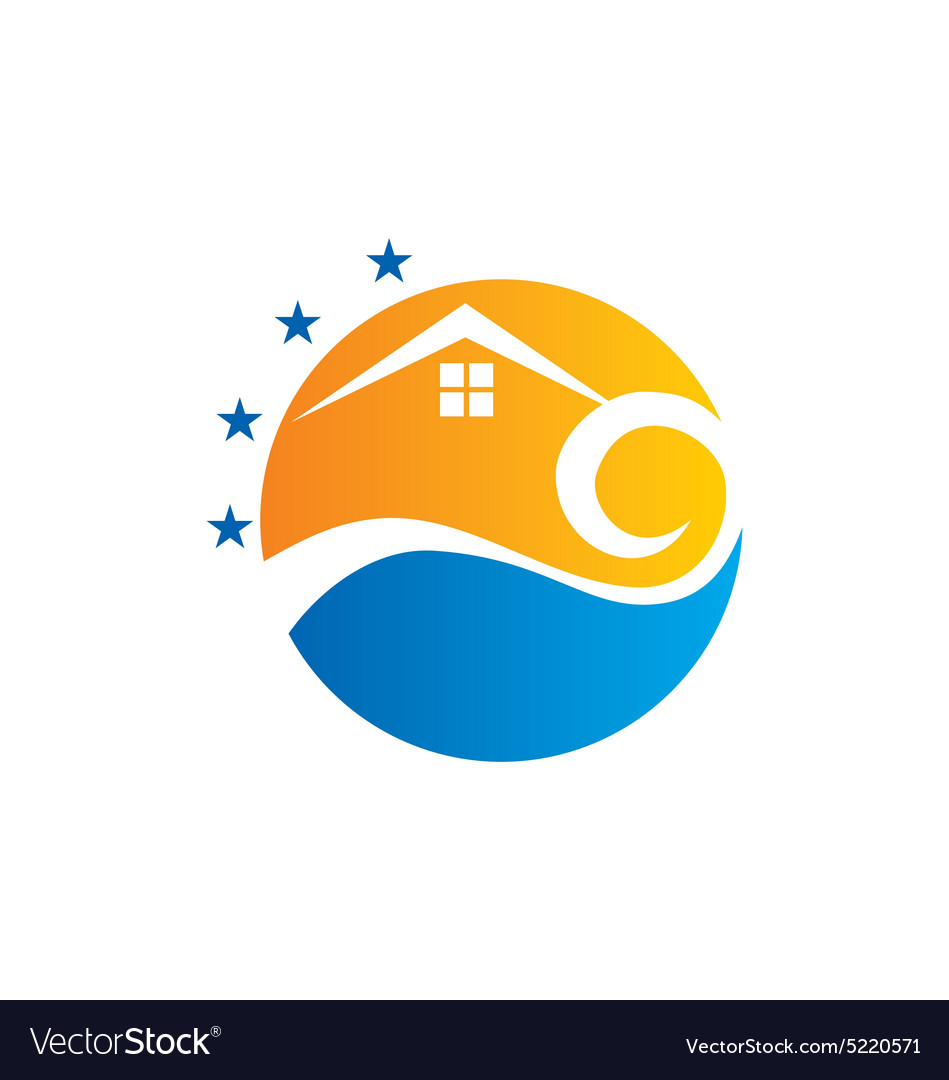 Cottage Beach House Sunset Logo Vector Image