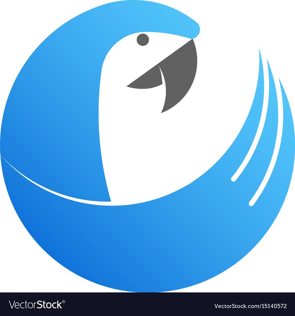Blue cockatoo logo made from circles vector image