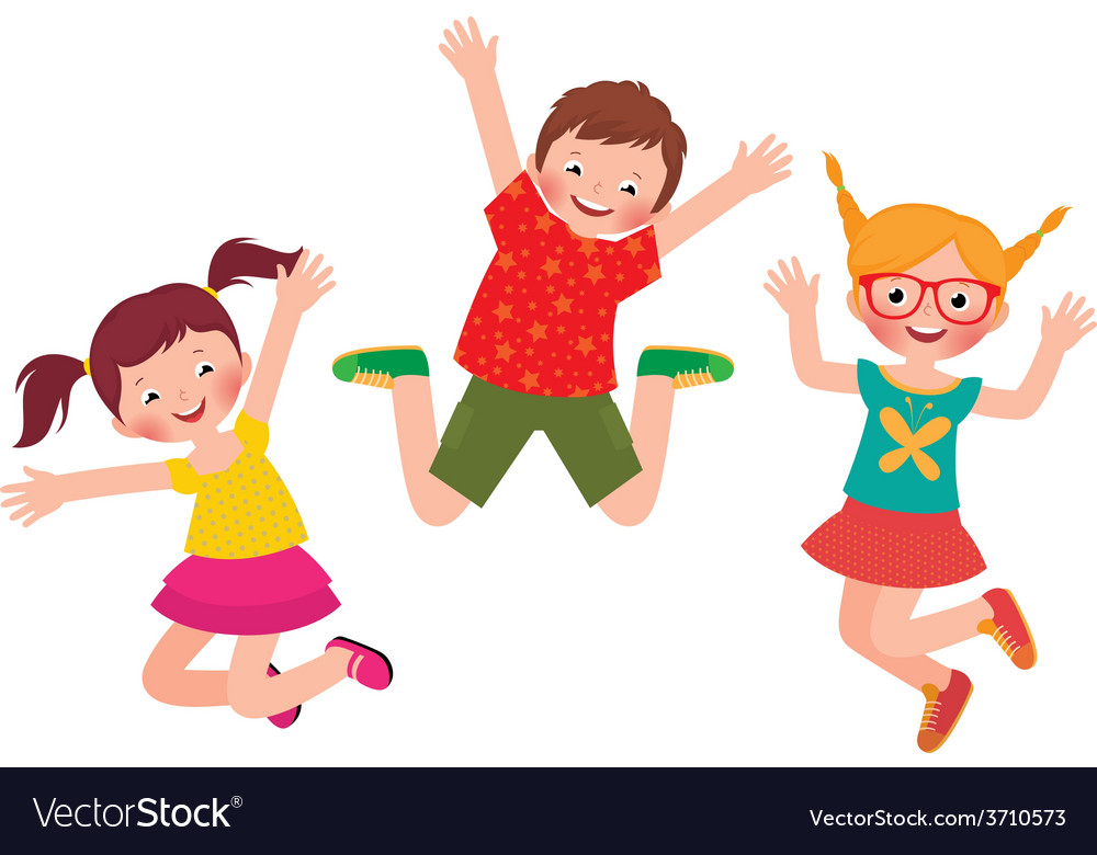 Happy children jumping isolated on white backgroun vector image
